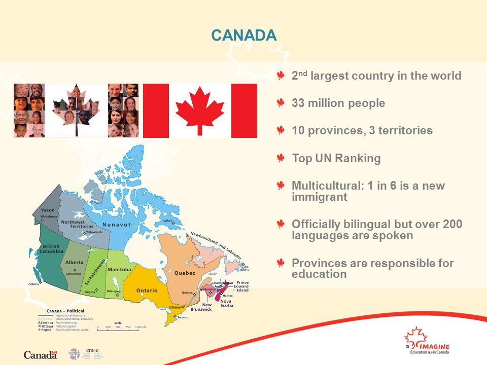 CANADA 2 nd largest country in the world 33 million people 10 provinces, 3 territories Top UN Ranking Multicultural: 1 in 6 is a new immigrant Officially bilingual but over 200 languages are spoken Provinces are responsible for education