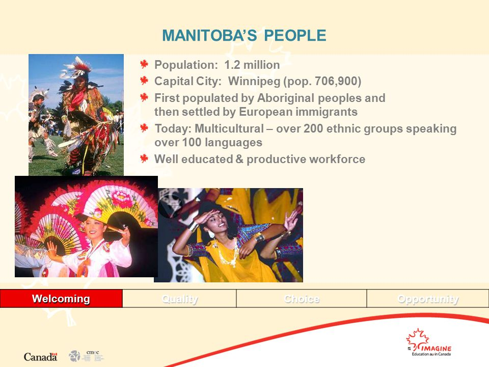 WelcomingQualityChoiceOpportunityWelcoming MANITOBA'S PEOPLE Population: 1.2 million Capital City: Winnipeg (pop.