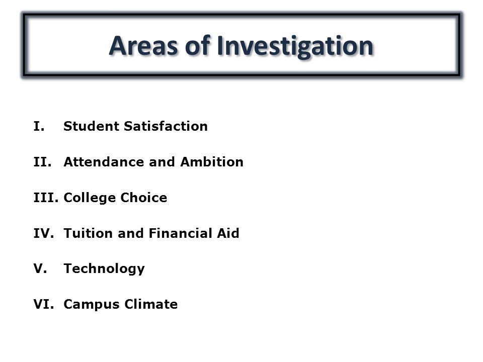 I.Student Satisfaction II.Attendance and Ambition III.College Choice IV.Tuition and Financial Aid V.Technology VI.Campus Climate Areas of Investigation
