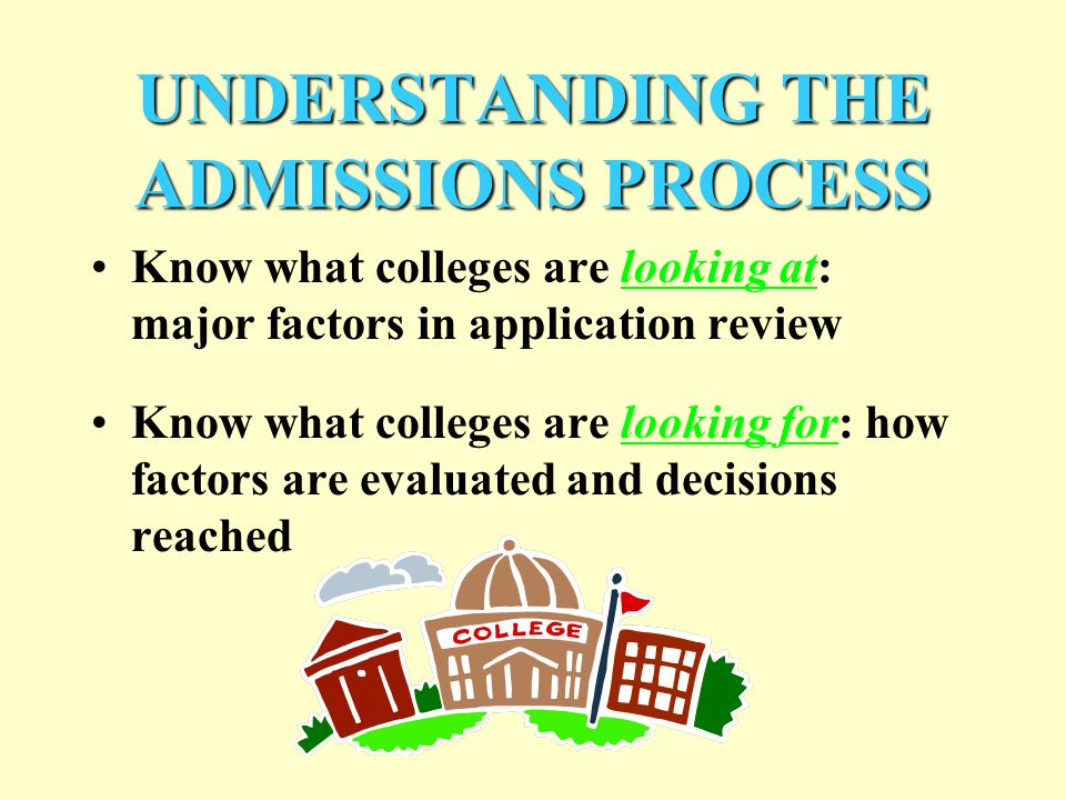 UNDERSTANDING THE ADMISSIONS PROCESS Know what colleges are looking at: major factors in application review Know what colleges are looking for: how factors are evaluated and decisions reached
