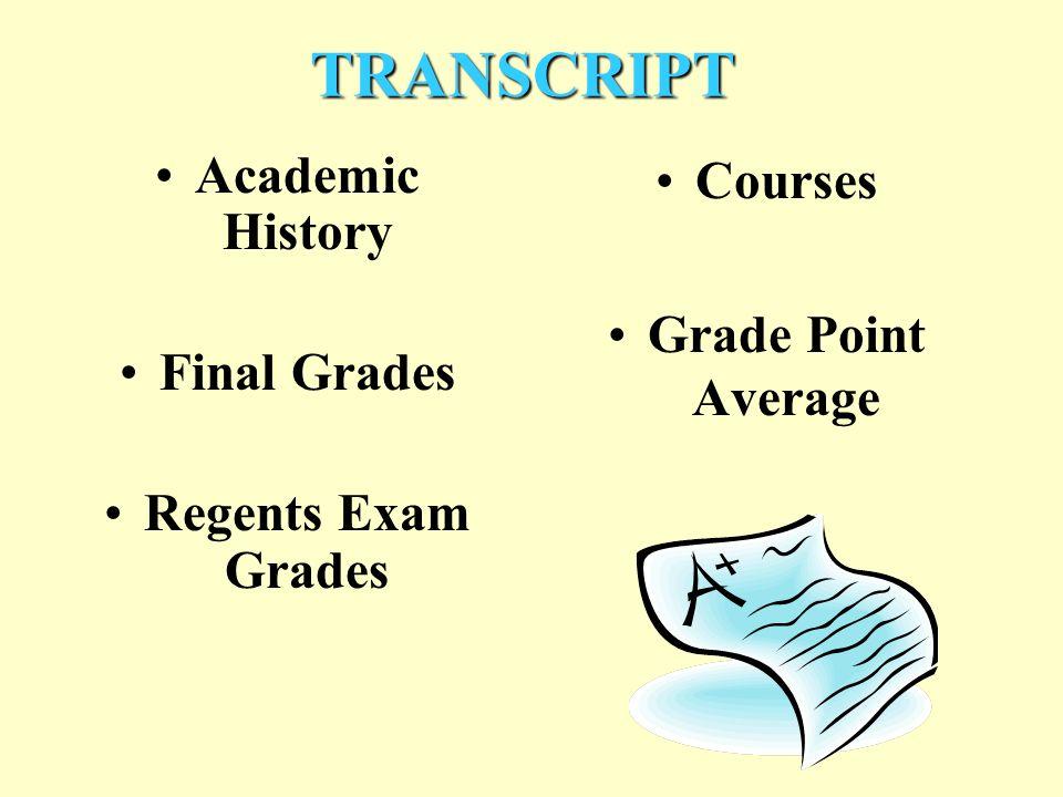 TRANSCRIPT Academic History Final Grades Regents Exam Grades Courses Grade Point Average