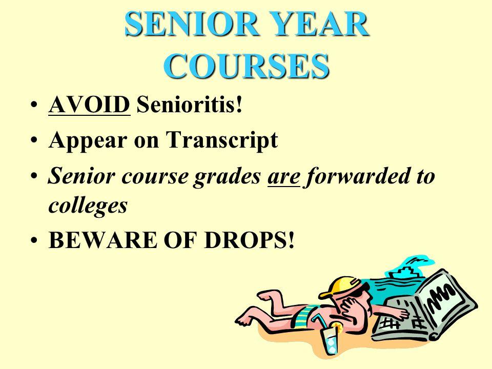 SENIOR YEAR COURSES AVOID Senioritis.