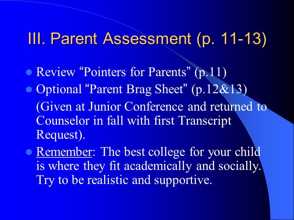 III. Parent Assessment (p.