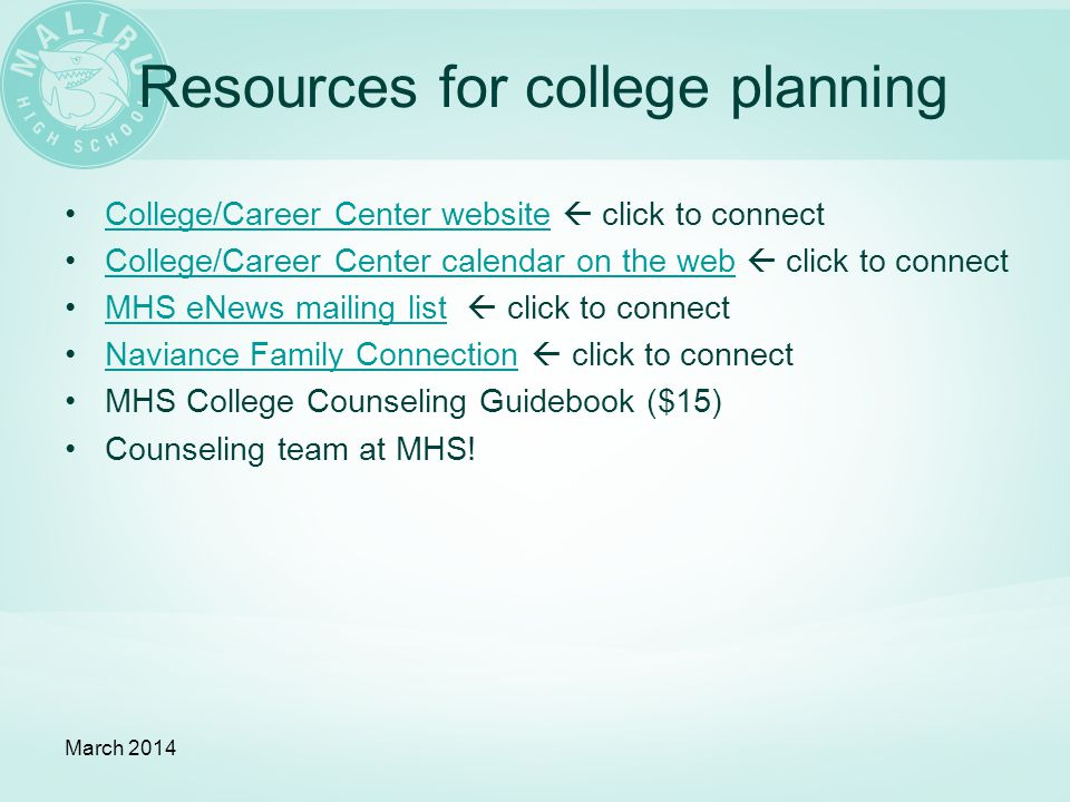 Resources for college planning College/Career Center website  click to connectCollege/Career Center website College/Career Center calendar on the web  click to connectCollege/Career Center calendar on the web MHS eNews mailing list  click to connectMHS eNews mailing list Naviance Family Connection  click to connectNaviance Family Connection MHS College Counseling Guidebook ($15) Counseling team at MHS.