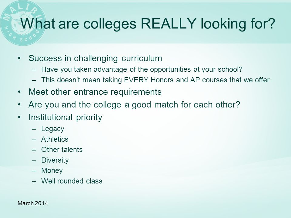 What are colleges REALLY looking for.
