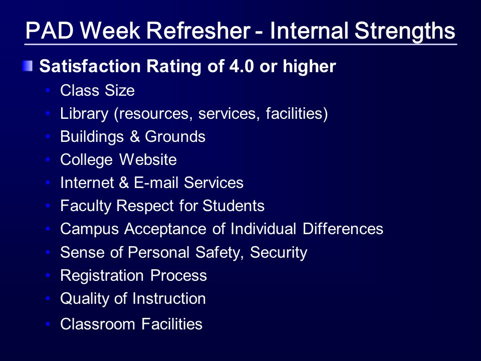 PAD Week Refresher - Internal Strengths Satisfaction Rating of 4.0 or higher Class Size Library (resources, services, facilities) Buildings & Grounds College Website Internet & E-mail Services Faculty Respect for Students Campus Acceptance of Individual Differences Sense of Personal Safety, Security Registration Process Quality of Instruction Classroom Facilities