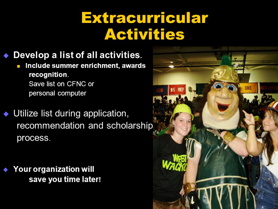Extracurricular Activities  Develop a list of all activities.