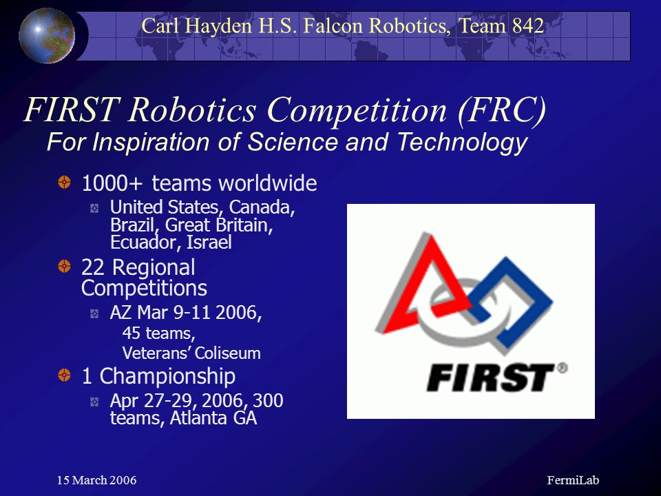 Carl Hayden H.S. Falcon Robotics, Team 842 15 March 2006FermiLab FIRST Robotics Competition (FRC) 1000+ teams worldwide United States, Canada, Brazil,