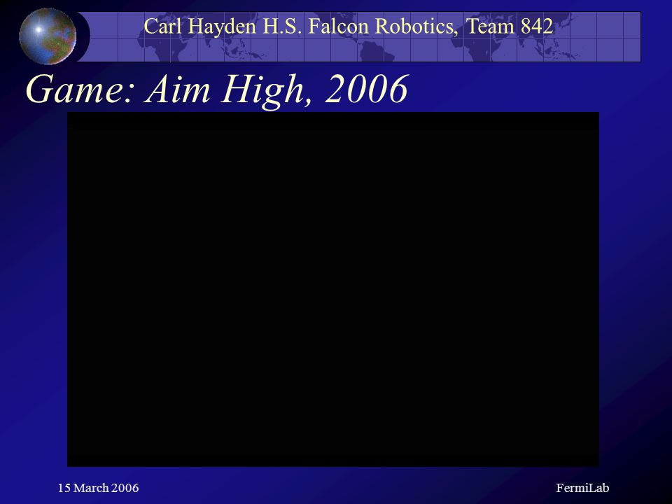 Carl Hayden H.S. Falcon Robotics, Team 842 15 March 2006FermiLab Game: Aim High, 2006