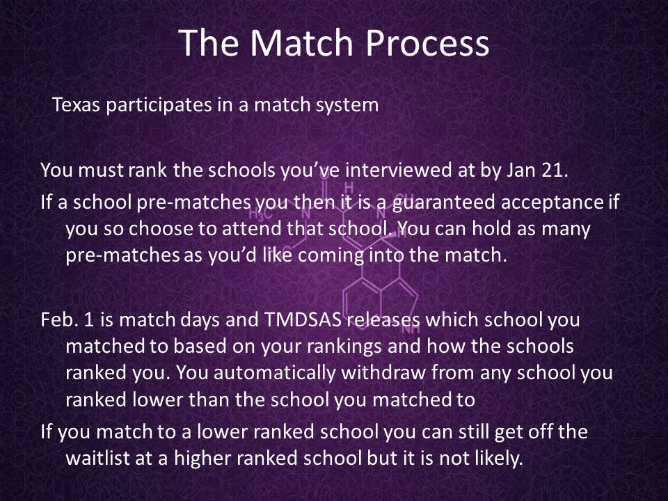 The Match Process Texas participates in a match system You must rank the schools you've interviewed at by Jan 21.