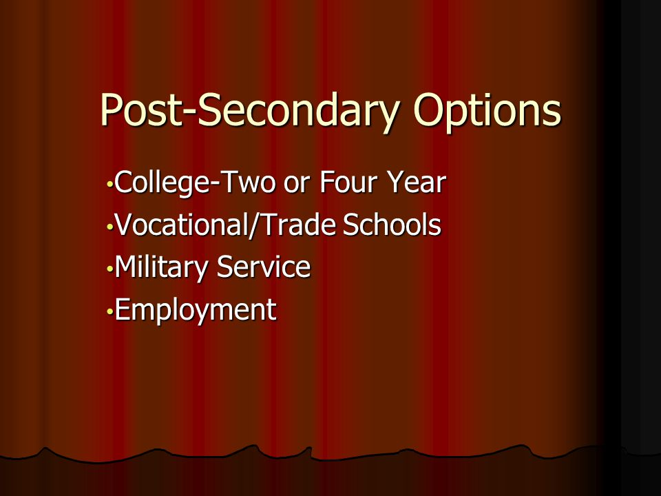 Post-Secondary Options College-Two or Four Year College-Two or Four Year Vocational/Trade Schools Vocational/Trade Schools Military Service Military Service Employment Employment
