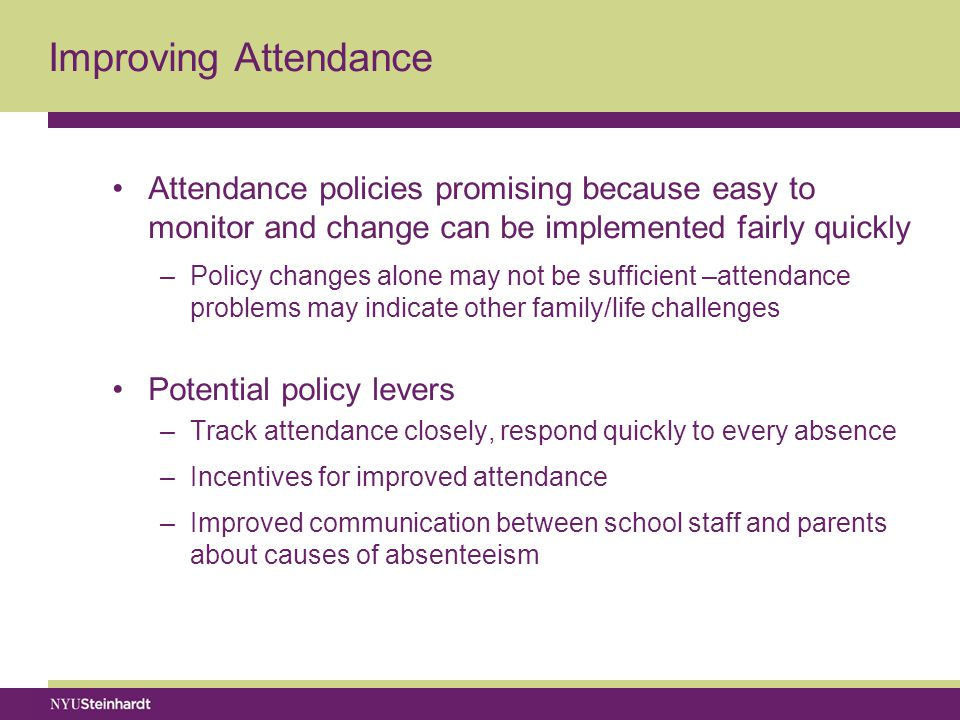 Improving Attendance Attendance policies promising because easy to monitor and change can be implemented fairly quickly –Policy changes alone may not be sufficient –attendance problems may indicate other family/life challenges Potential policy levers –Track attendance closely, respond quickly to every absence –Incentives for improved attendance –Improved communication between school staff and parents about causes of absenteeism