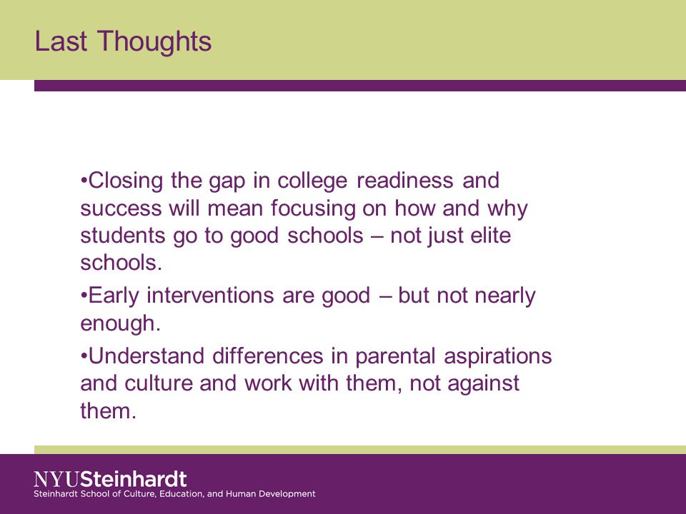 Closing the gap in college readiness and success will mean focusing on how and why students go to good schools – not just elite schools.
