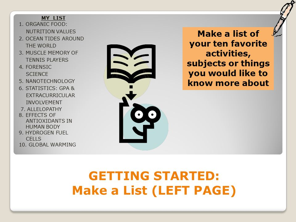 GETTING STARTED: Make a List (LEFT PAGE) MY LIST 1.