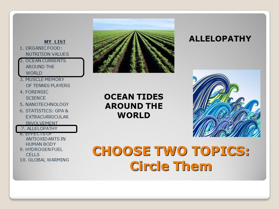 CHOOSE TWO TOPICS: Circle Them MY LIST 1. ORGANIC FOOD: NUTRITION VALUES 2.