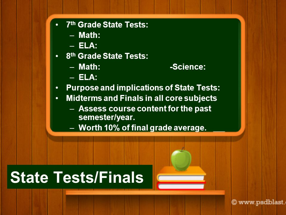 State Tests/Finals 7 th Grade State Tests: –Math: –ELA: 8 th Grade State Tests: –Math:-Science: –ELA: Purpose and implications of State Tests: Midterms and Finals in all core subjects –Assess course content for the past semester/year.