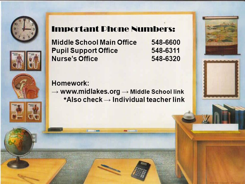 Middle School Main Office 548-6600 Pupil Support Office 548-6311 Nurse's Office 548-6320 Homework: → www.midlakes.org → Middle School link * Also check → Individual teacher link Important Phone Numbers: