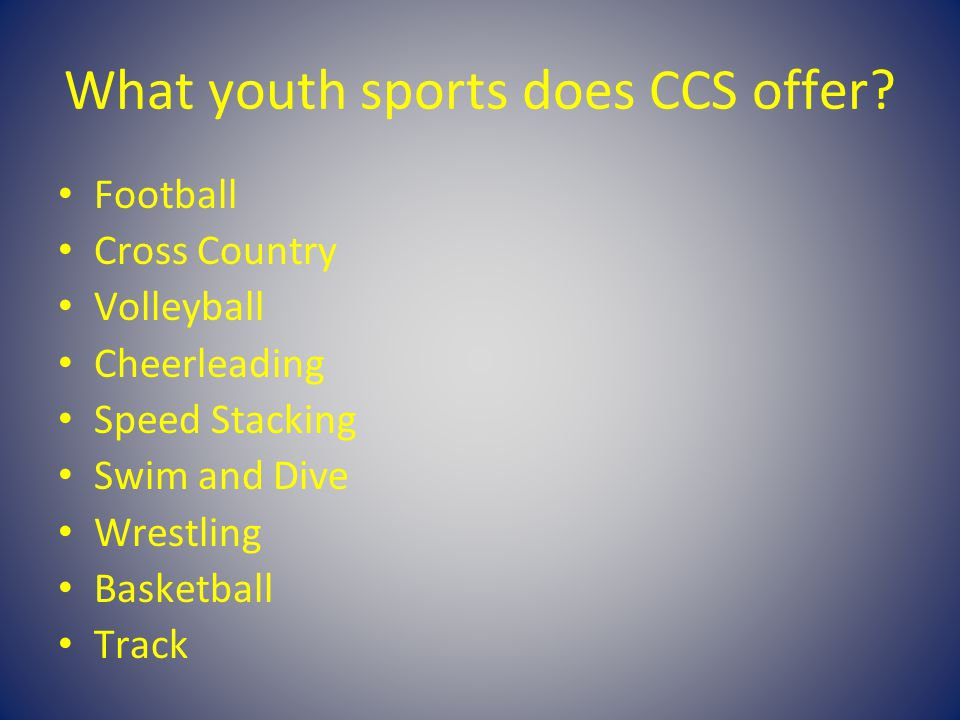 What youth sports does CCS offer.