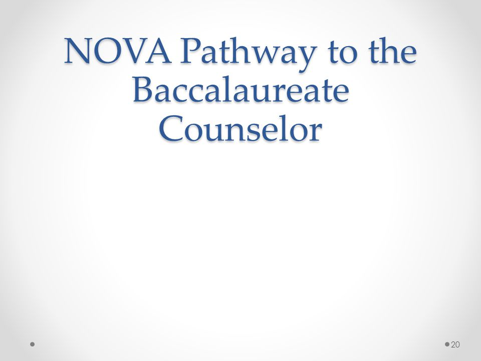 NOVA Pathway to the Baccalaureate Counselor 20