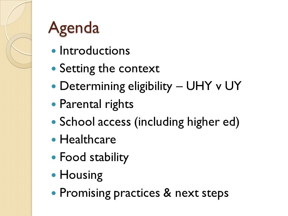 Housing Continuum of care Runaway and Homeless Youth programs Host homes Group homes Independent living programs Community colleges v 4-year institutions