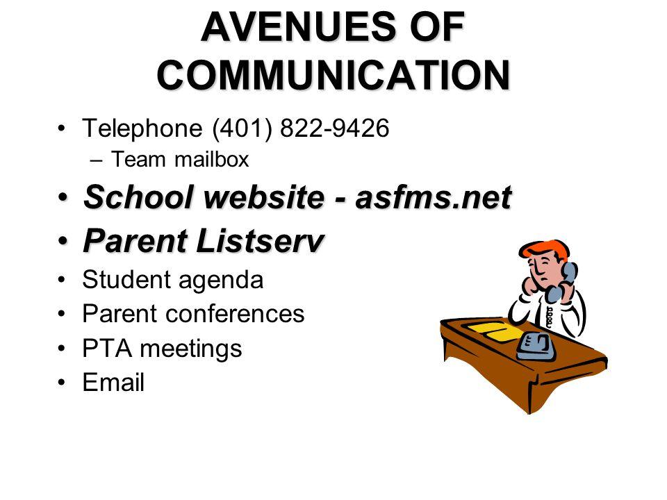 AVENUES OF COMMUNICATION Telephone (401) 822-9426 –Team mailbox School website - asfms.netSchool website - asfms.net Parent ListservParent Listserv St