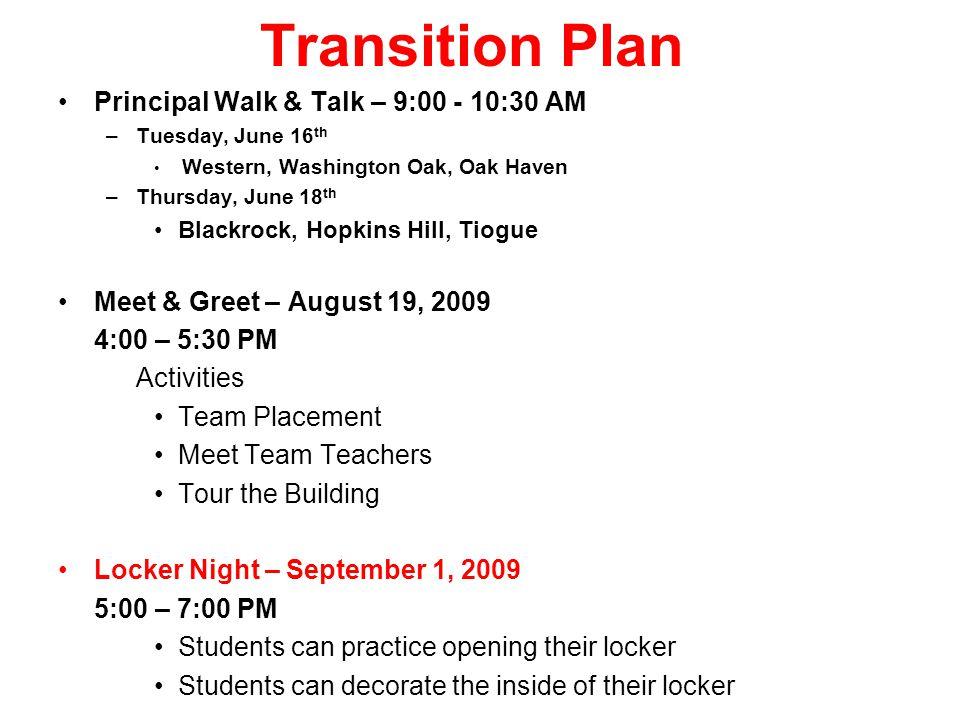 Transition Plan Principal Walk & Talk – 9:00 - 10:30 AM –Tuesday, June 16 th Western, Washington Oak, Oak Haven –Thursday, June 18 th Blackrock, Hopki