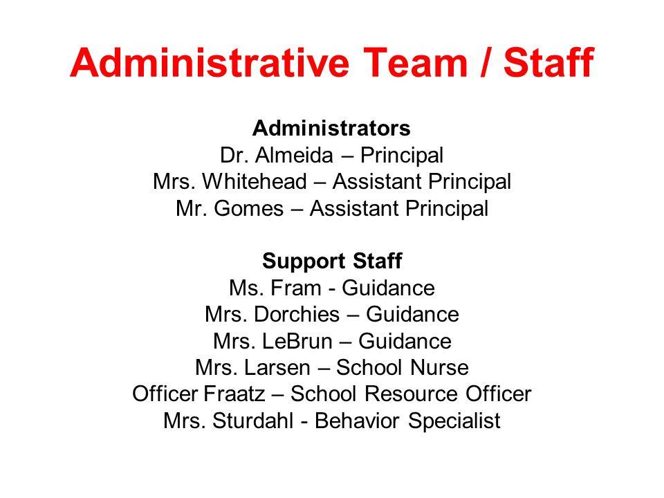 Administrative Team / Staff Administrators Dr. Almeida – Principal Mrs. Whitehead – Assistant Principal Mr. Gomes – Assistant Principal Support Staff