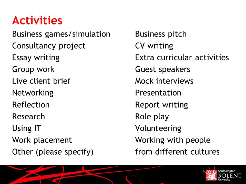 Activities Business games/simulationBusiness pitch Consultancy projectCV writing Essay writingExtra curricular activities Group workGuest speakers Liv