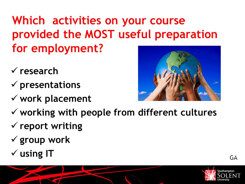 Which activities on your course provided the MOST useful preparation for employment.