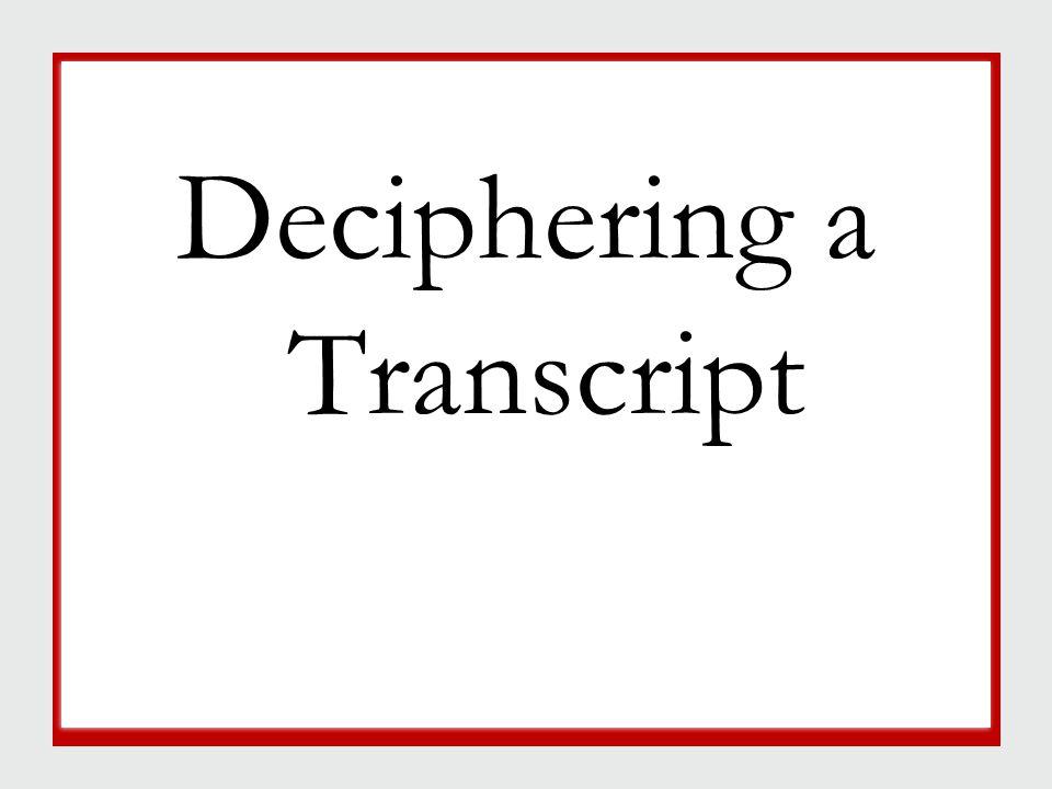 Deciphering a Transcript