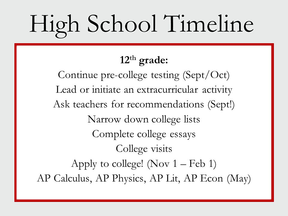 High School Timeline 12 th grade: Continue pre-college testing (Sept/Oct) Lead or initiate an extracurricular activity Ask teachers for recommendation