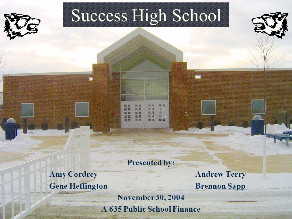 Success High School Presented by: Amy Cordrey Andrew Terry Gene HeffingtonBrennon Sapp November 30, 2004 A 635 Public School Finance