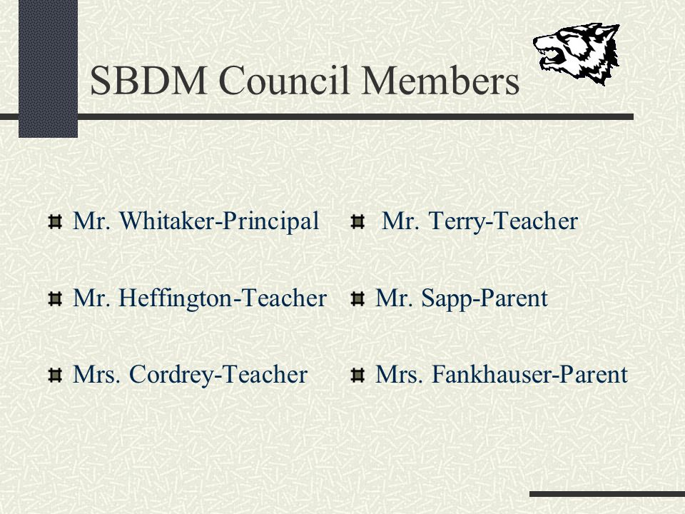 SBDM Council Members Mr. Whitaker-Principal Mr. Heffington-Teacher Mrs.