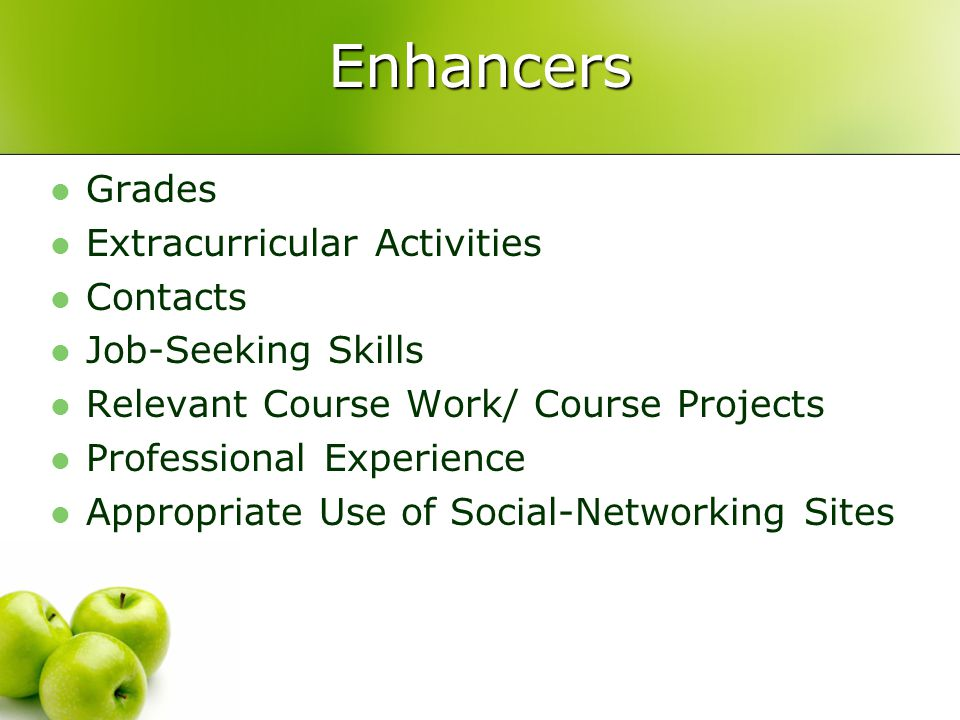 Enhancers Grades Extracurricular Activities Contacts Job-Seeking Skills Relevant Course Work/ Course Projects Professional Experience Appropriate Use of Social-Networking Sites