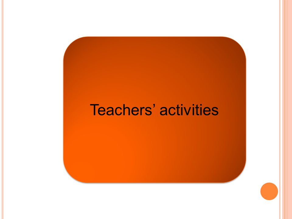 Teachers' activities