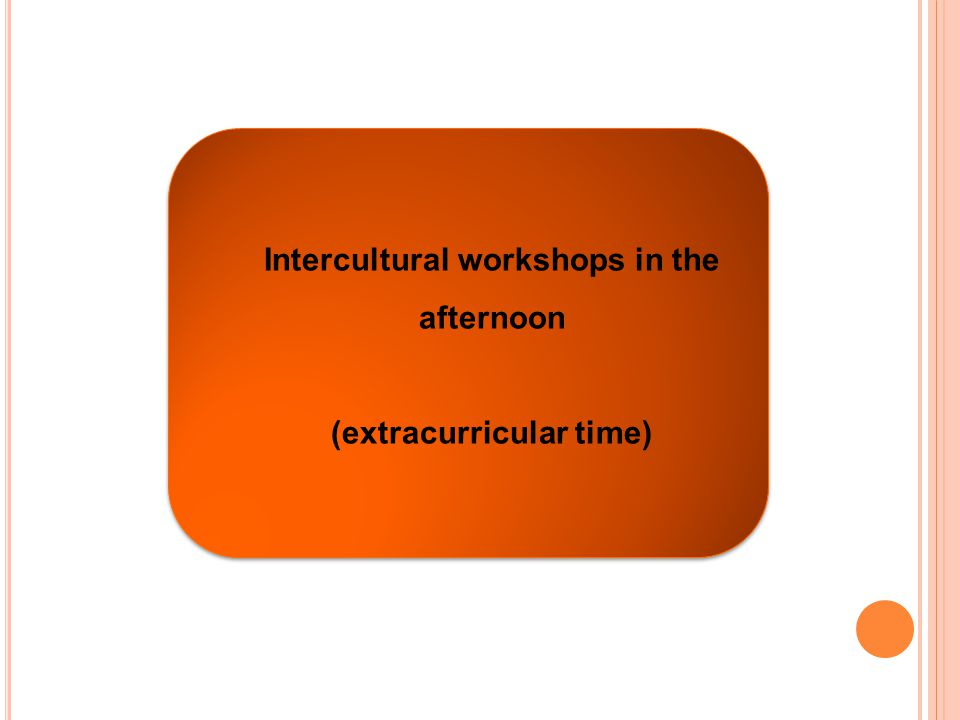 Intercultural workshops in the afternoon (extracurricular time) Intercultural workshops in the afternoon (extracurricular time) Intercultural workshops in the afternoon (extracurricular time)