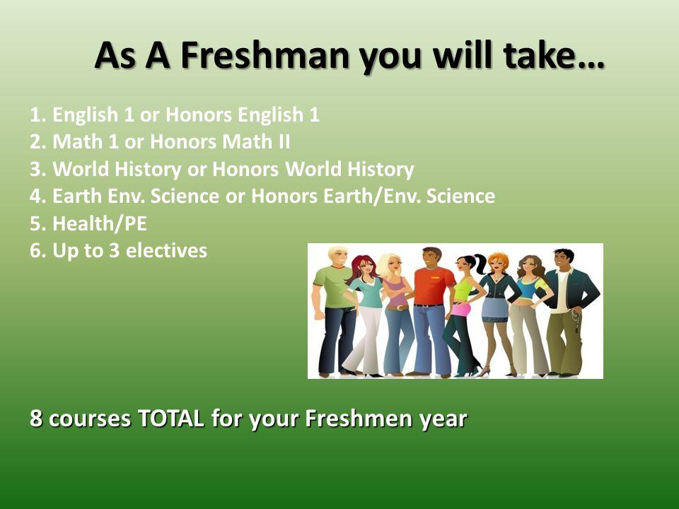 As A Freshman you will take… 1.English 1 or Honors English 1 2.