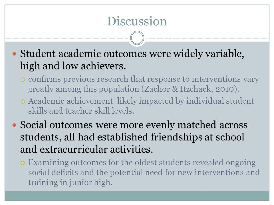 Discussion Student academic outcomes were widely variable, high and low achievers.