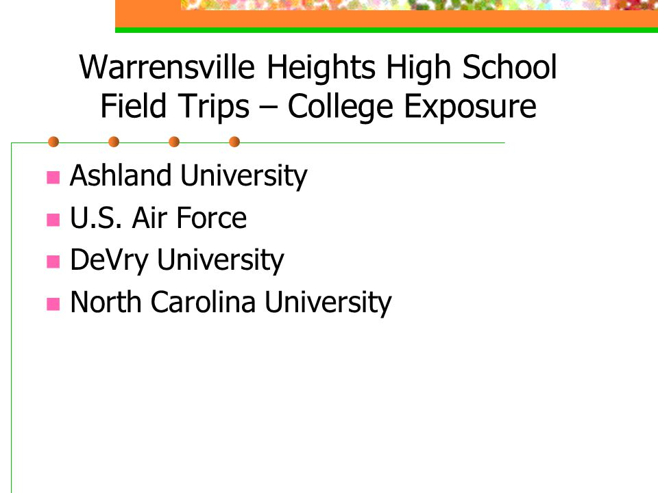 Warrensville Heights High School Field Trips – College Exposure Ashland University U.S.