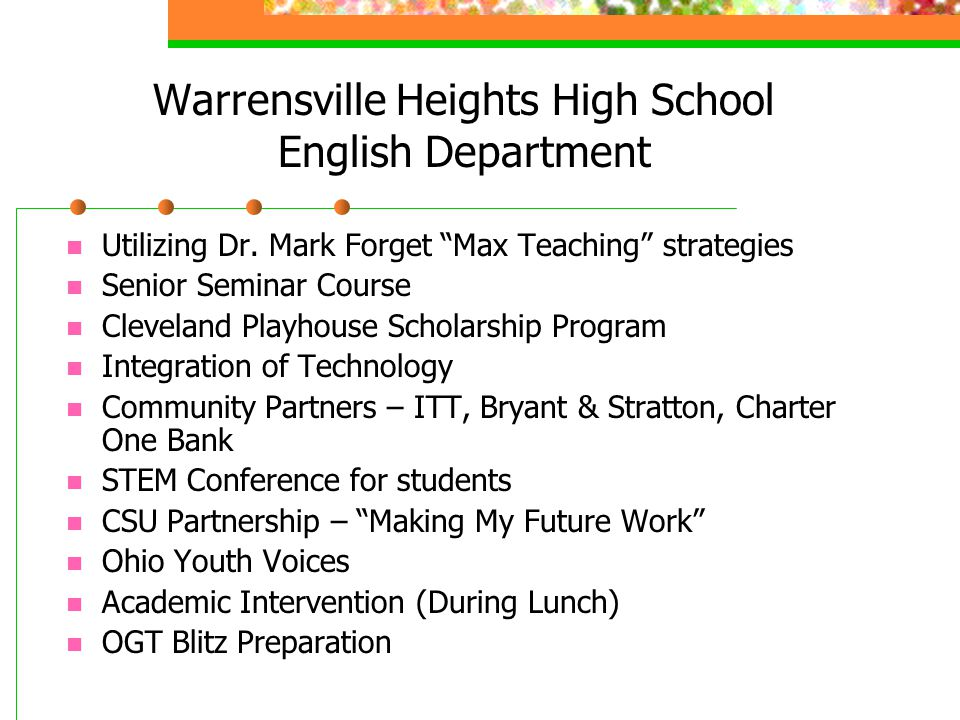 Warrensville Heights High School English Department Utilizing Dr.