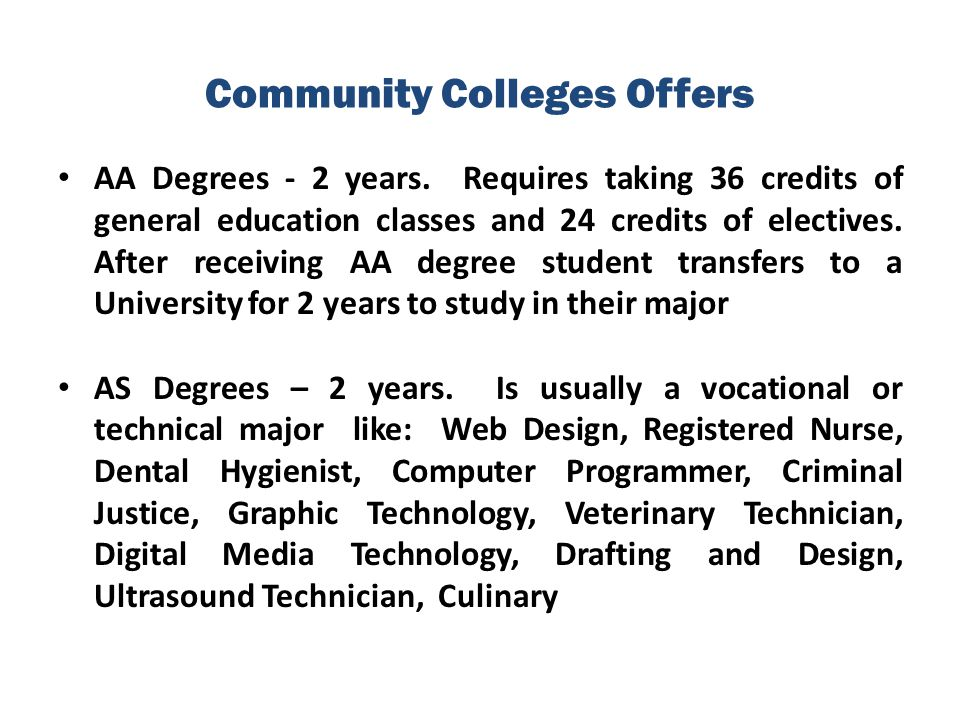 Community Colleges Offers AA Degrees - 2 years. Requires taking 36 credits of general education classes and 24 credits of electives. After receiving A