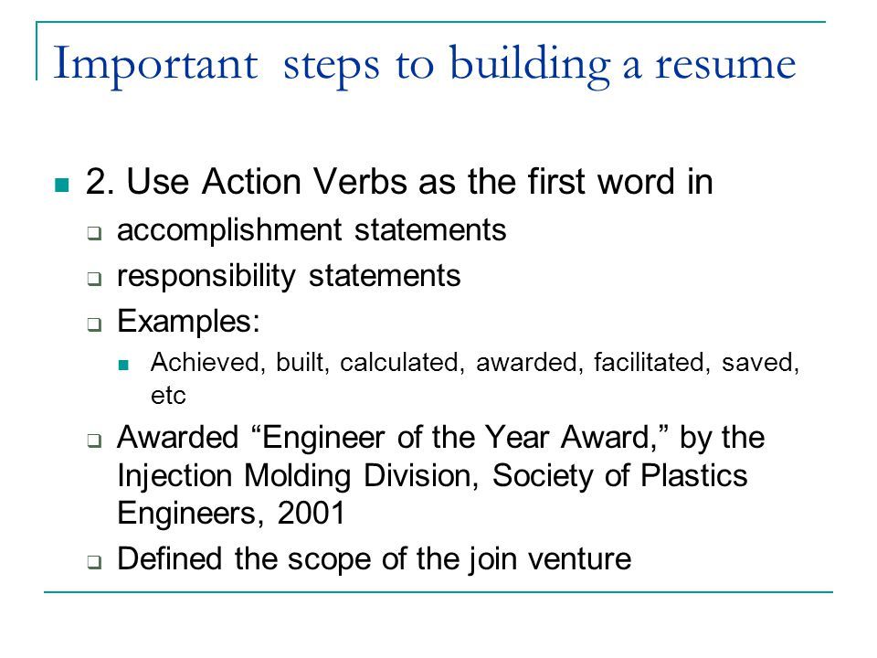 Important steps to building a resume 2.
