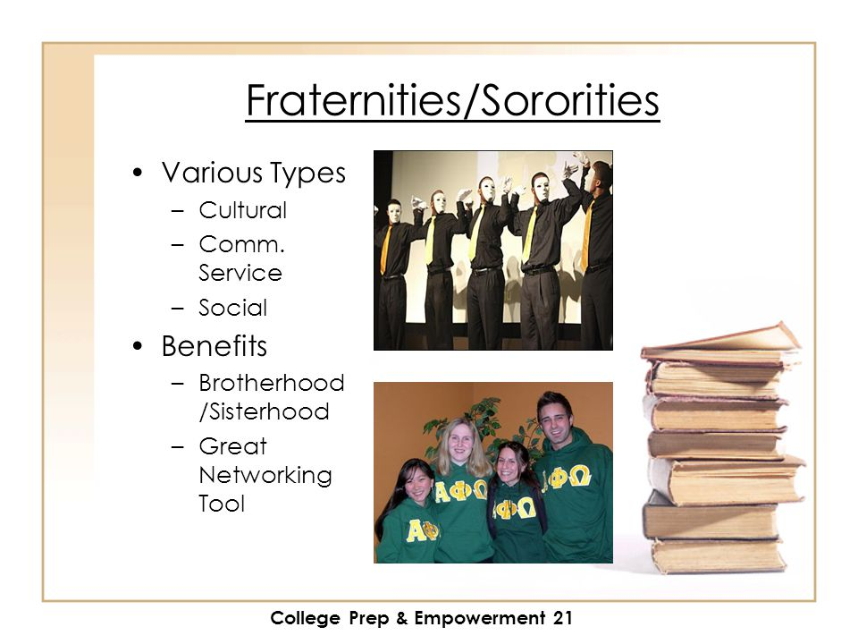 College Prep & Empowerment 21 Fraternities/Sororities Various Types –Cultural –Comm.