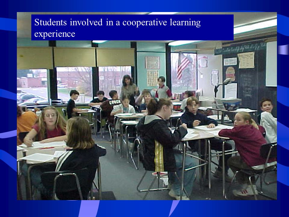 Students involved in a cooperative learning experience