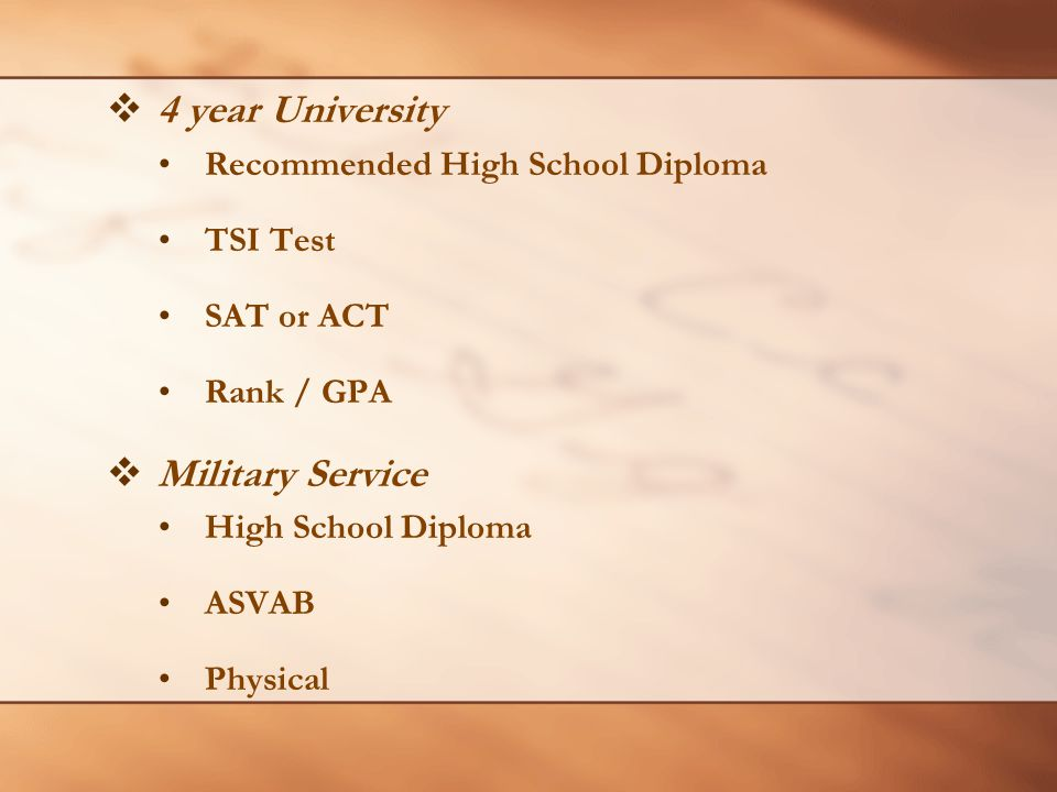  4 year University Recommended High School Diploma TSI Test SAT or ACT Rank / GPA  Military Service High School Diploma ASVAB Physical