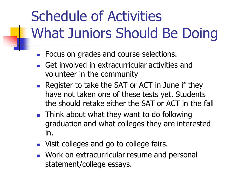 Schedule of Activities What Juniors Should Be Doing Focus on grades and course selections.