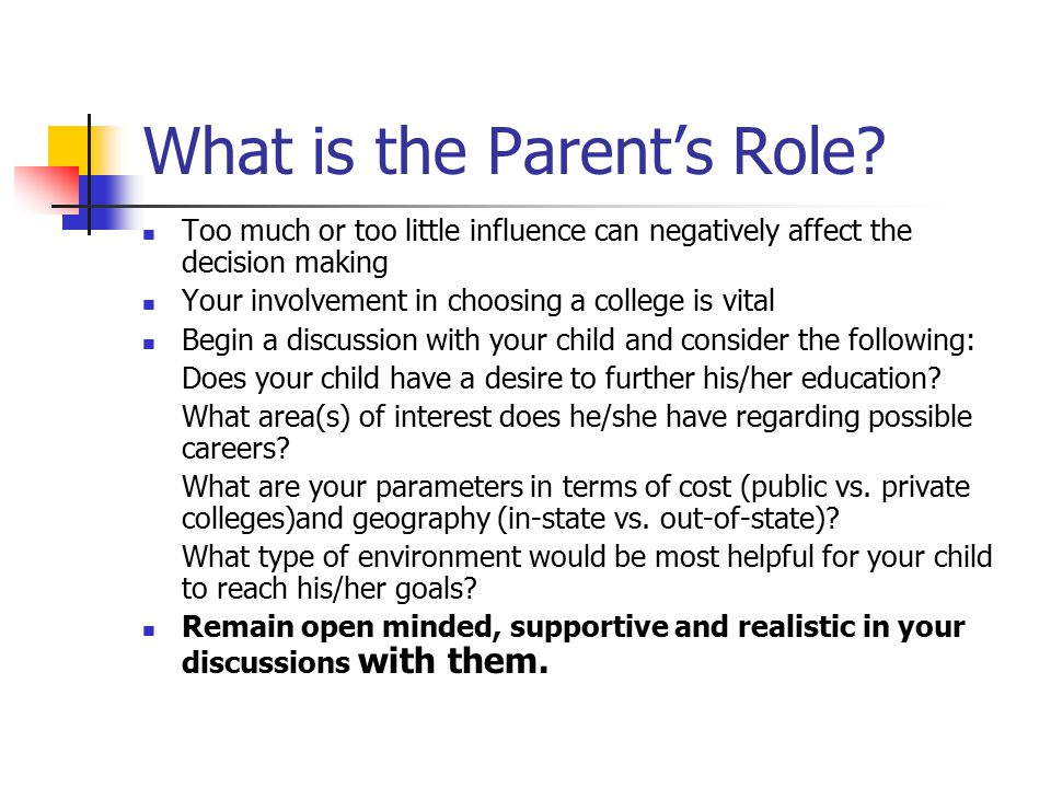 Pointers for Parents and College-Bound Juniors – Checklist for Selection Selectivity of admissions Chances of admission Accredited programs Location and size Public vs.