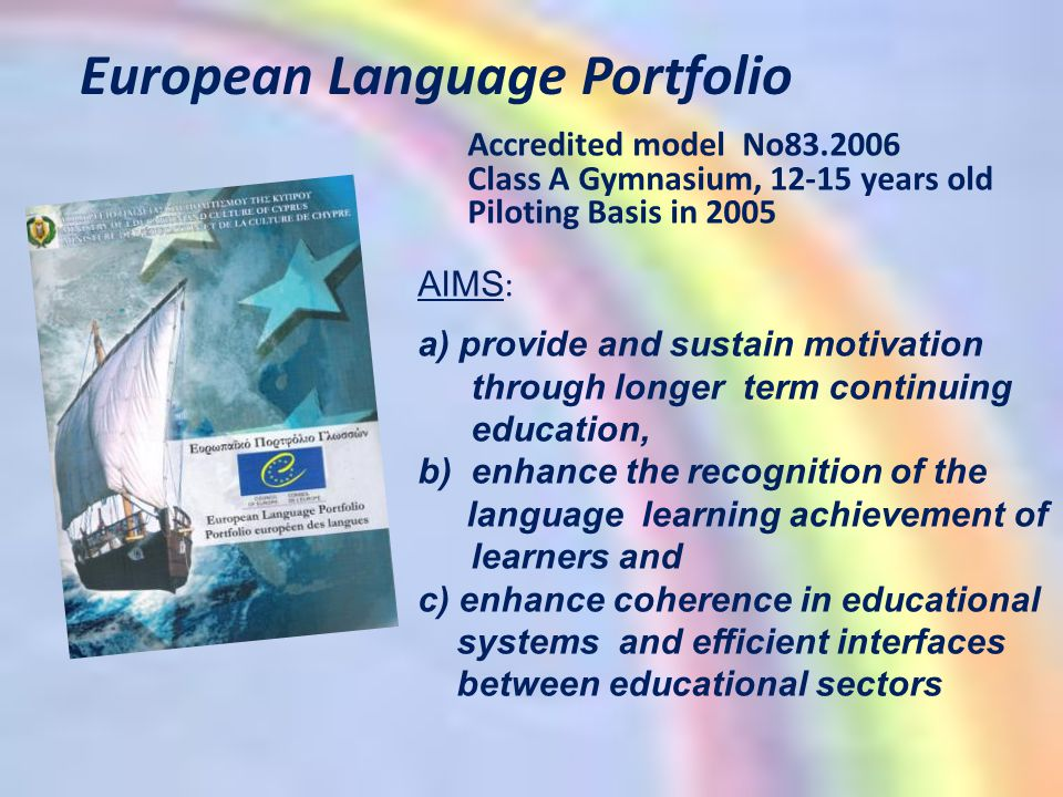European Language Portfolio Accredited model No83.2006 Class A Gymnasium, 12-15 years old Piloting Basis in 2005 AIMS : a) provide and sustain motivation through longer term continuing education, b)enhance the recognition of the language learning achievement of learners and c) enhance coherence in educational systems and efficient interfaces between educational sectors