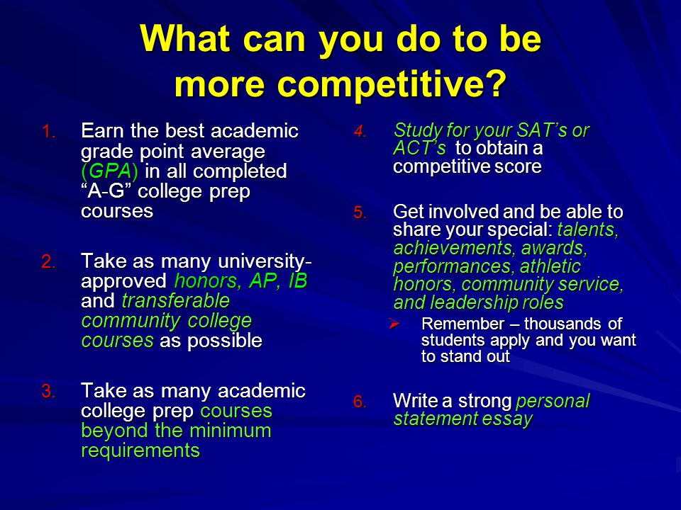 What can you do to be more competitive. 1.