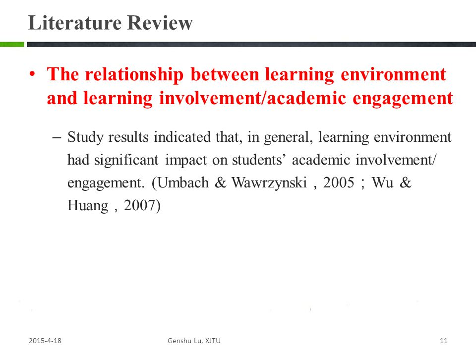 The relationship between learning environment and learning involvement/academic engagement – Study results indicated that, in general, learning environment had significant impact on students' academic involvement/ engagement.
